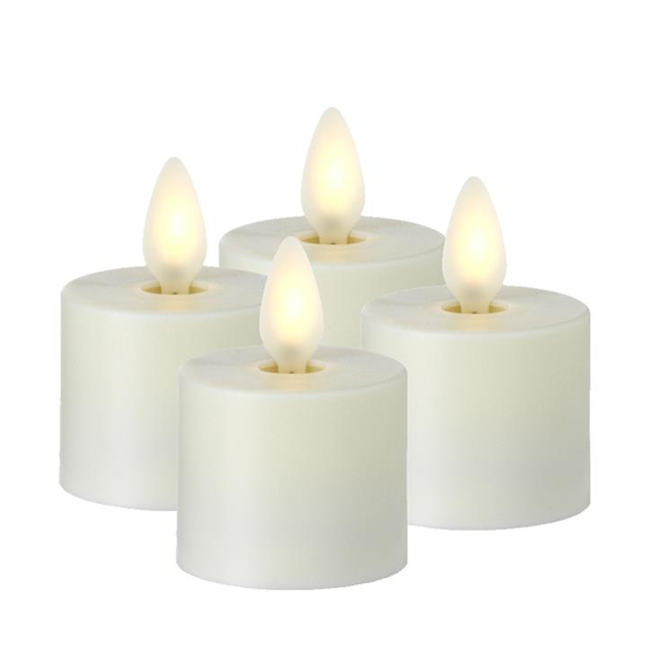Moving Flame Candle with Timer 1.5' Tea Light - 4 pack