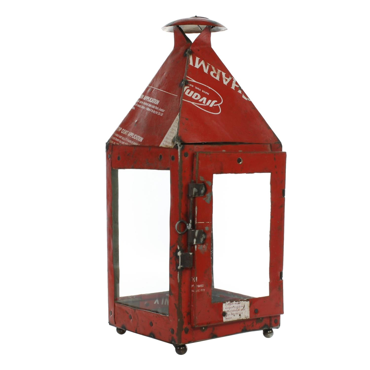 Reclaimed Metal Lantern RED