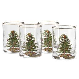 Spode Christmas Tree Set of 4 Double Old Fashioneds