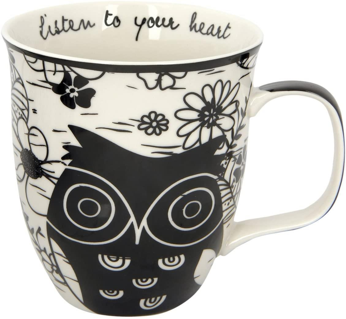 Boho Black and White Mug Owl