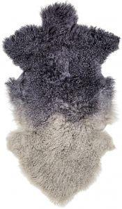Navy & Grey Tibetan Lamb Fur Rug