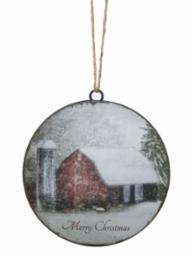 Merry Christmas Barn Ornament