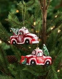 Red Pickup with Tree Ornament