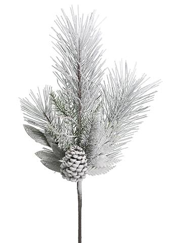Snow Flocked Pine with Pinecone Spray