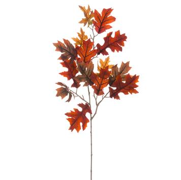 Velvet Oak Leaf Spray - Burgandy/Brown