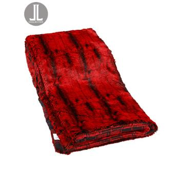 Throw Blanket - Red Fur/Plaid