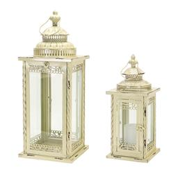 White Distressed Lantern - Large