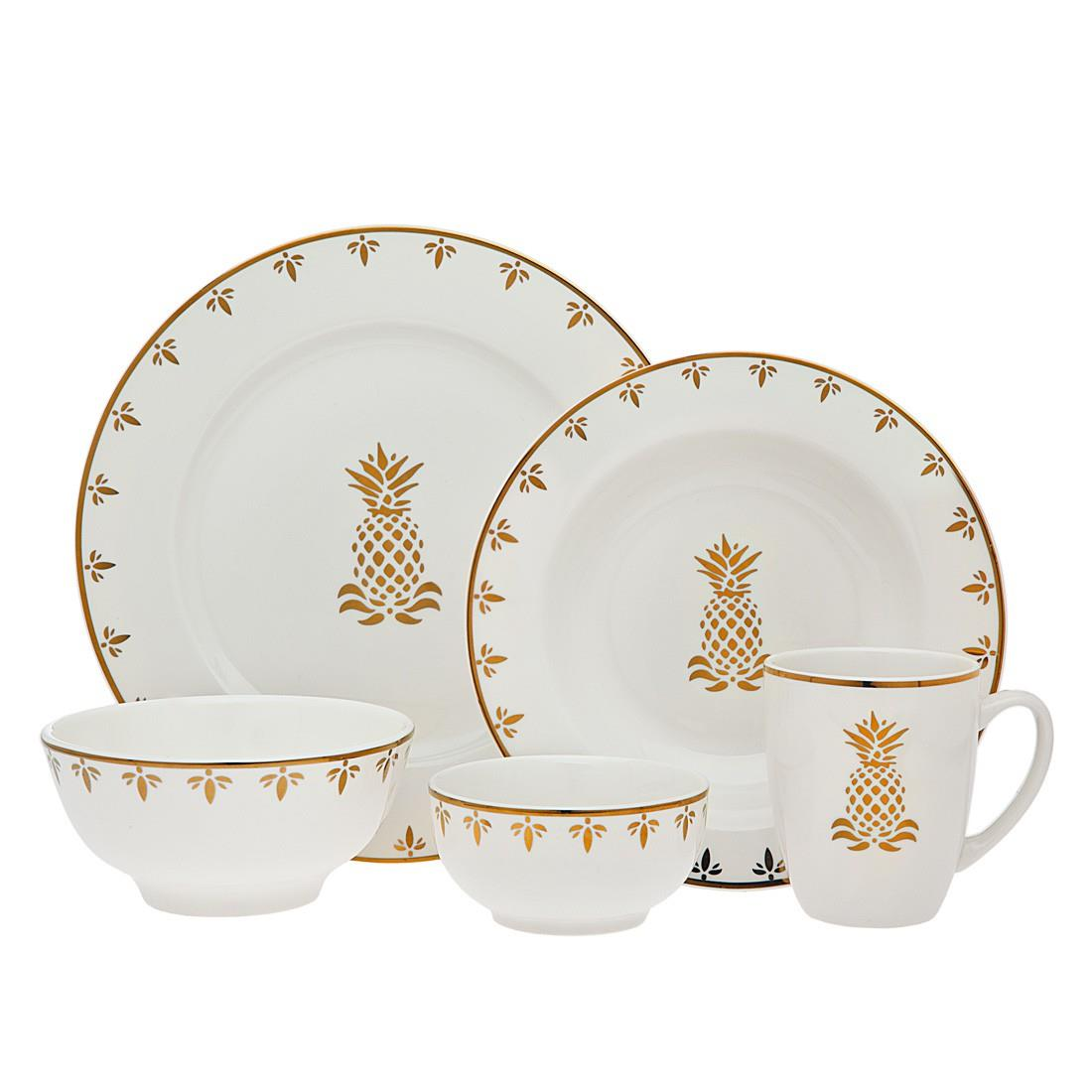 Pineapple Dinnerware - Gold 16 Piece