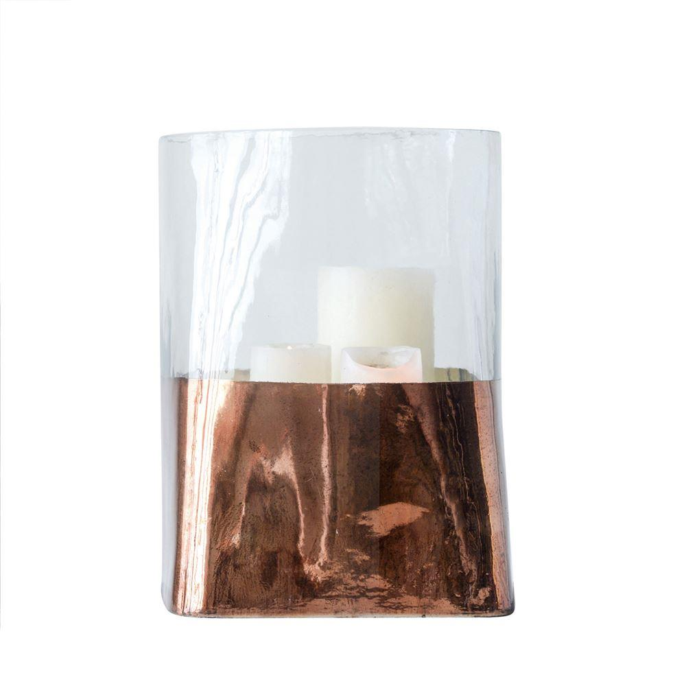 Electroplated Copper Glass Candle Holder - 8.5'