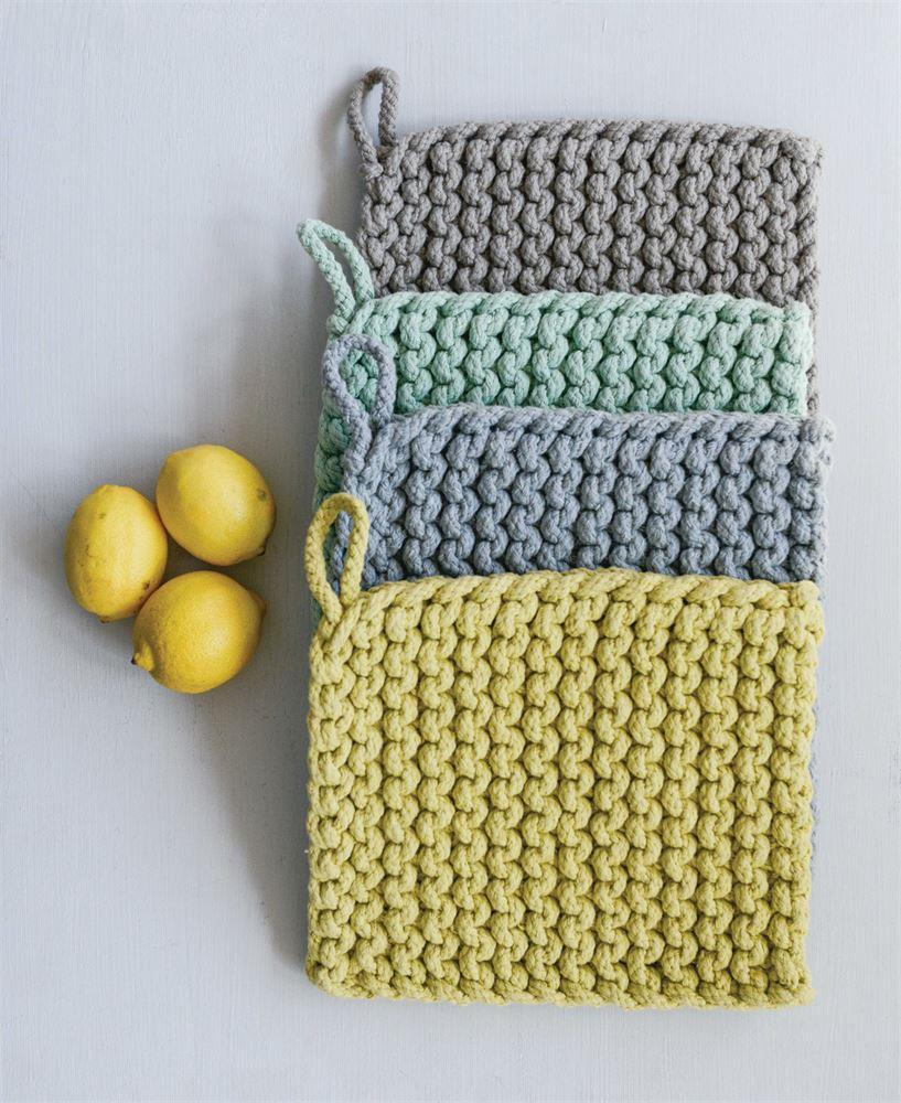 Green - Square Cotton Crocheted Potholder