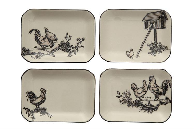Rooster and Chicken Gazing Together Stoneware Dish w/  Black Rim