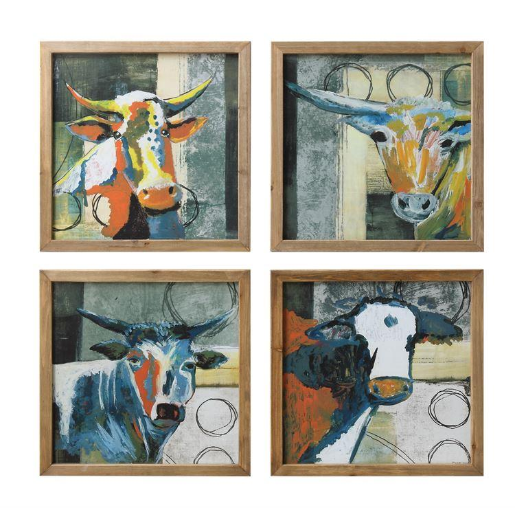 Cow Square Wood Framed Wall Decor