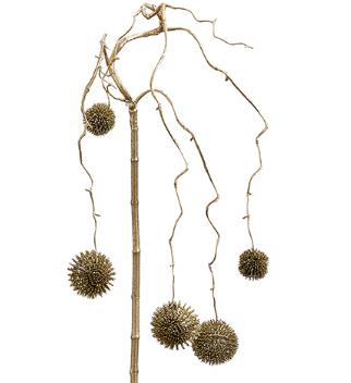 Glittered Thistle Hanging Spray - Gold
