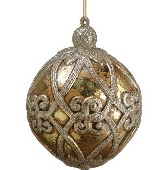 Antique Gold Glittered Ornament - 4'