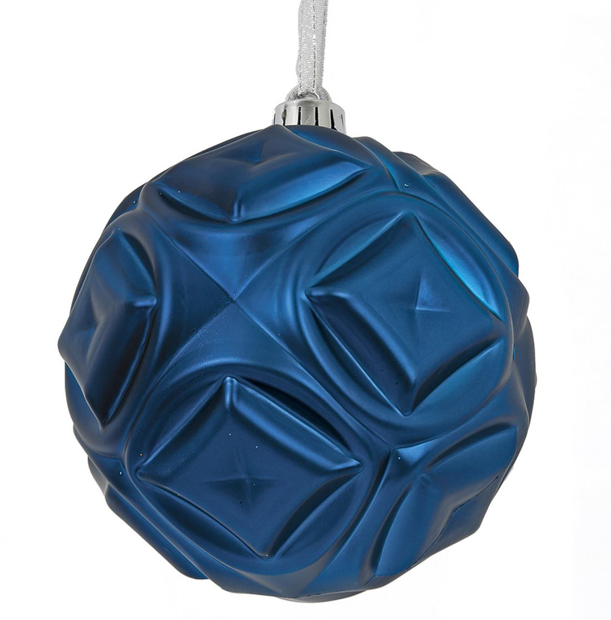 Blue Matte Diamond Ball Ornament - 6''