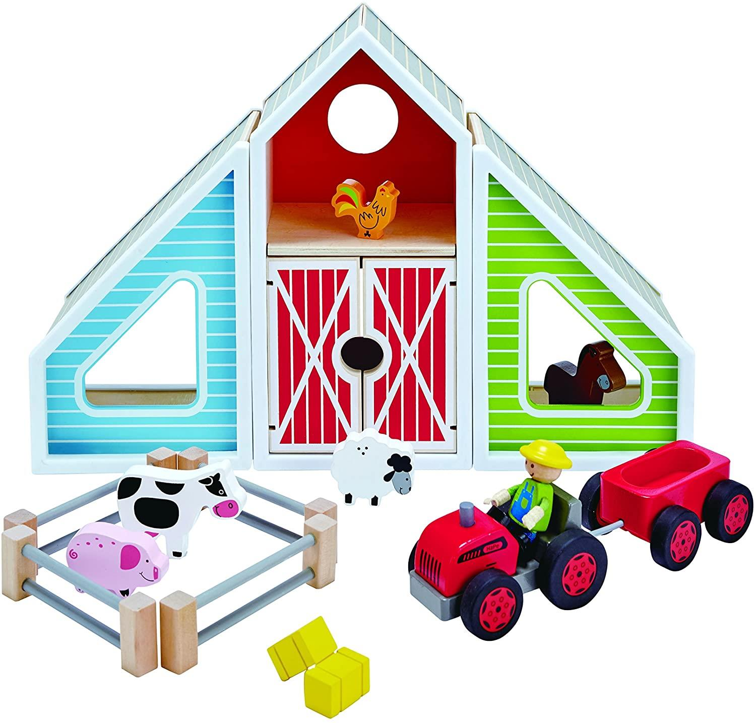 Classic Colorful Barn Wooden Play Set
