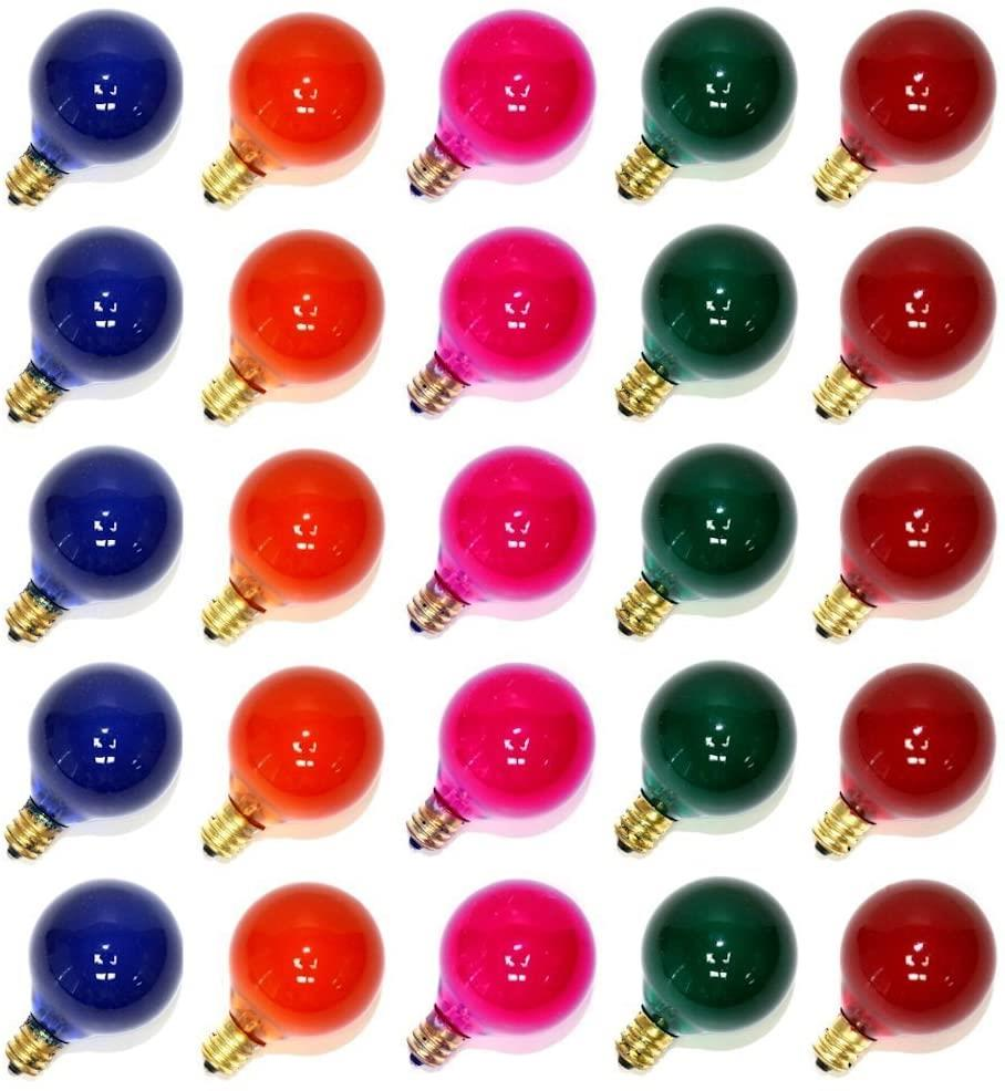 25 Pc Frosted Multicolor Globe Bulb