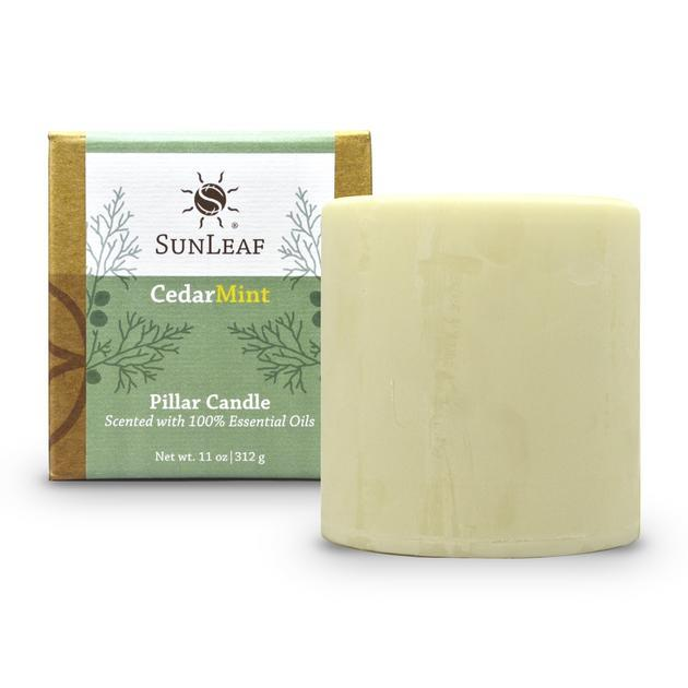 Cedar Mint Natural Pillar Candle