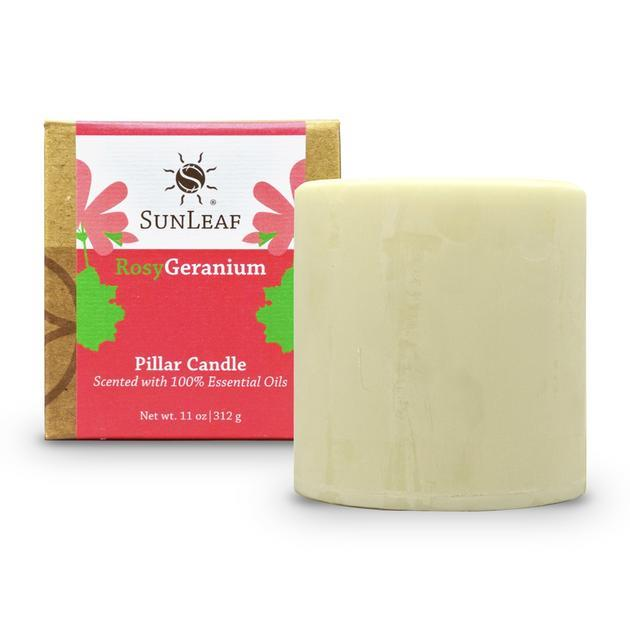 Rosy Geranium Natural Pillar Candle