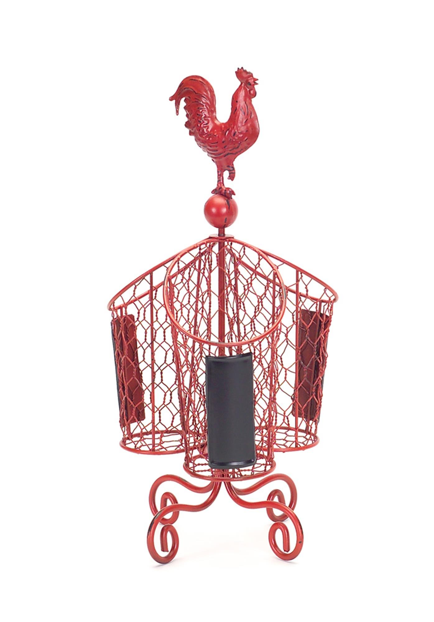 Rooster Flatware Holder Red