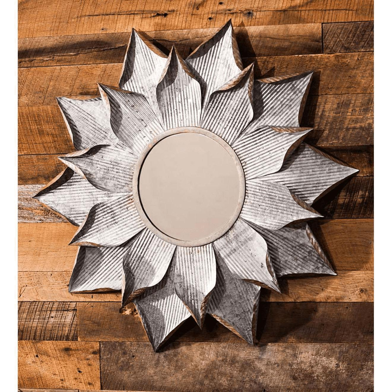 Galvanized Flower Mirror