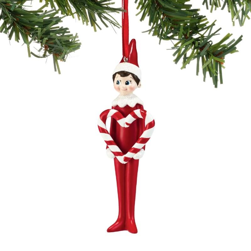 Elf on the Shelf Candy Cane Heart Ornament