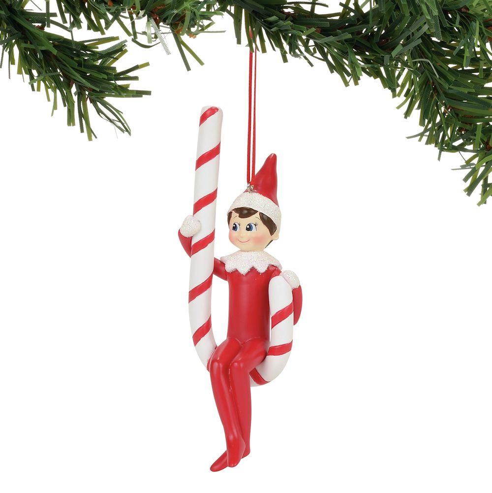 Elf on the Shelf Candy Cane Swing Ornament