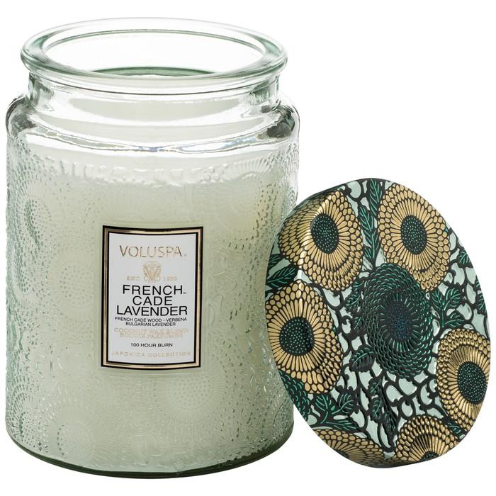 French Cade & Lavender - Large Embossed Jar Candle