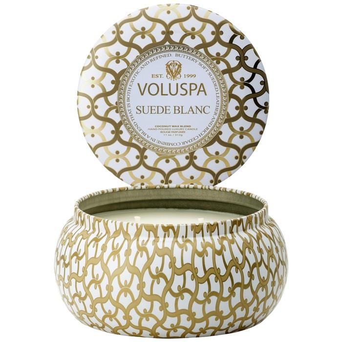 Suede Blanc  - 2 Wick Large Tin Candle