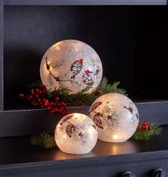 Snowball with Berry and Pine LED Globe - Set of 3