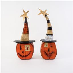 Wood Pumpkin with Hat