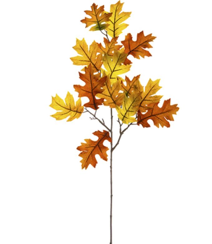 Velvet Oak Leaf Spray - Orange Fall