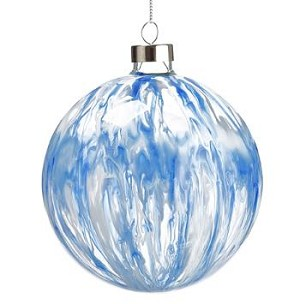 Blue and White Glass Ornament - 4.75'