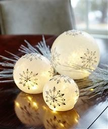 LED Snowflake Globes Set of  3